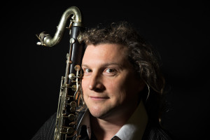 Portrait of Composer David Elaine Alt with Bass Clarinet